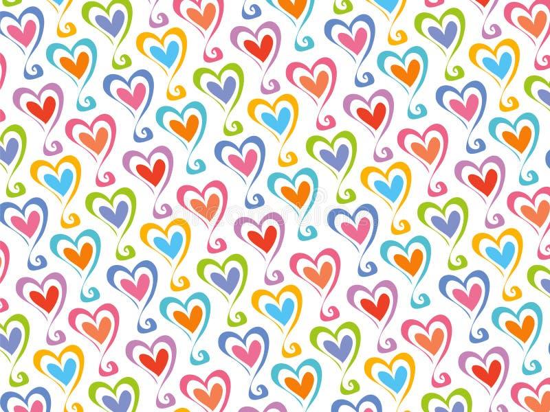 Retro color hearts pattern stock photo