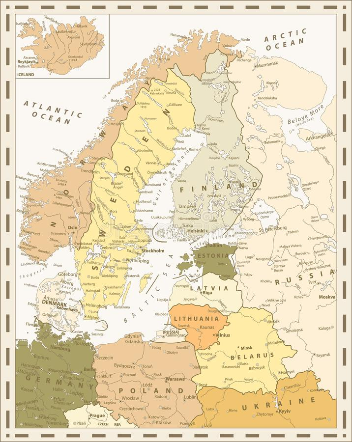 Retro Color Map Of Northern Europe Stock Vector - Illustration of ...