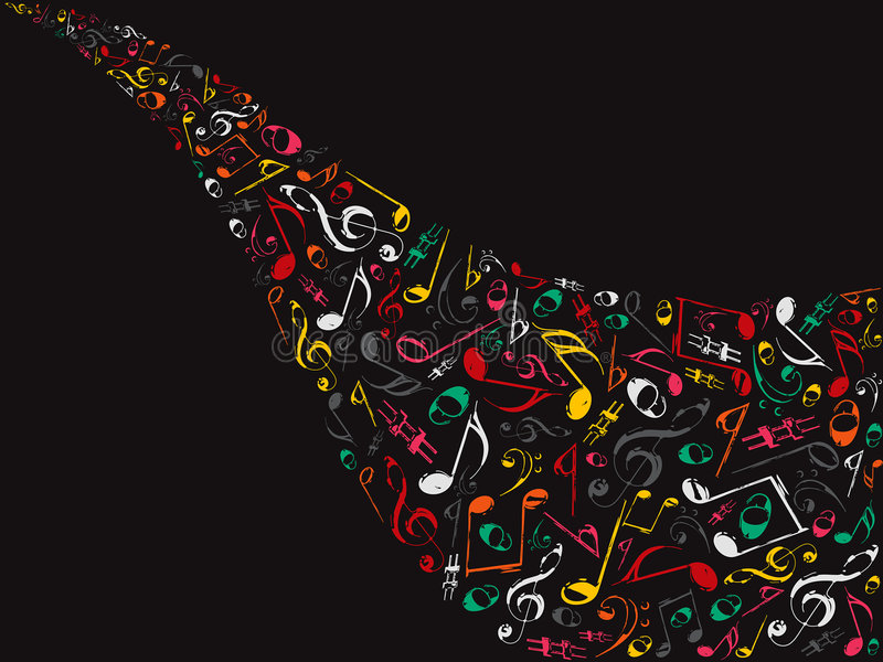 Retro color musical notes stock photography