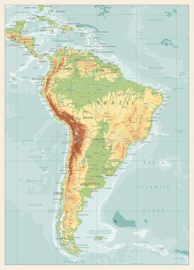 Retro Color Physical Map Of South America Stock Vector Image - United states of america physical map