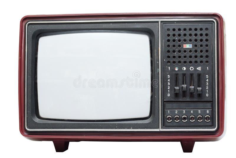 Retro color TV set. On white background royalty free stock photo