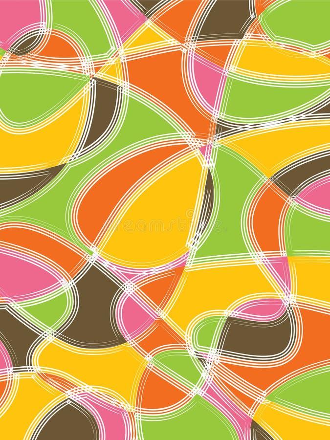 Retro colore rosa di colore giallo dello scarabocchio illustrazione di stock