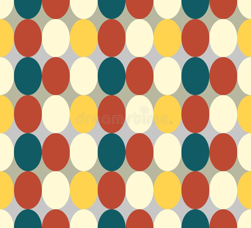 Retro colored oval seamless pattern in solid vintage colors. Seamless patter made of retro colored oval abstract geometry shapes in vintage colors of red, tan vector illustration