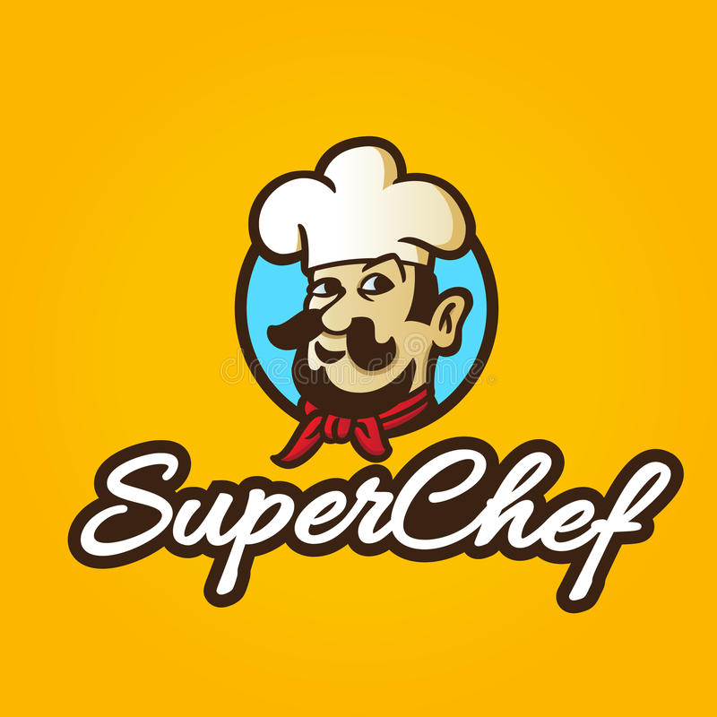 Retro colorful hand drawn chef royalty free illustration