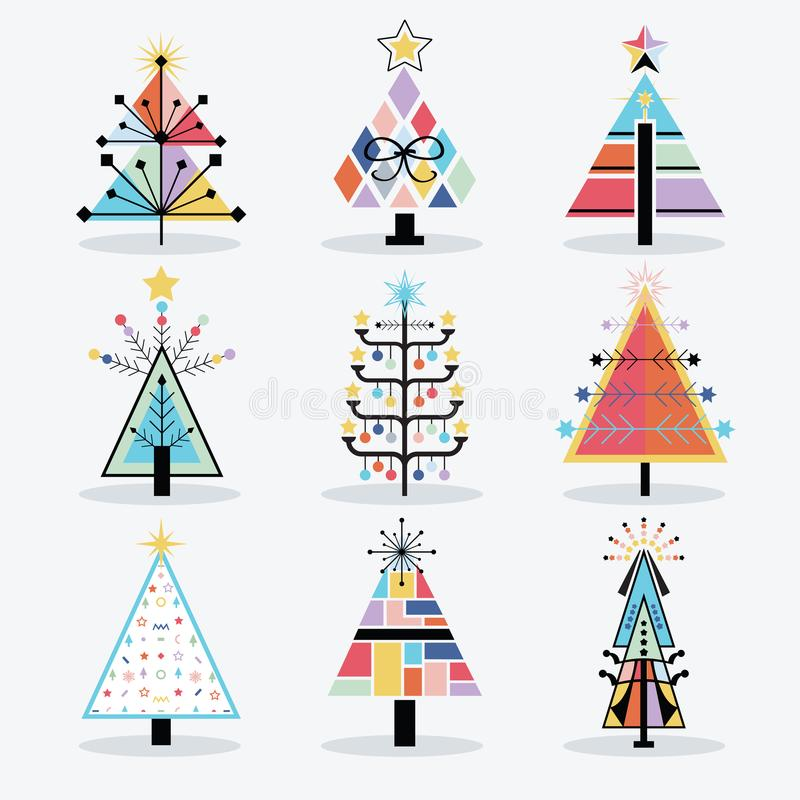 Retro colorful and trendy isolated pop art Christmas trees icons set royalty free illustration