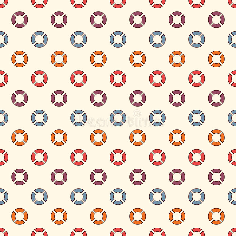 Retro colors seamless pattern with repeated circles. Bubble motif. Geometric abstract background. Modern surface texture vector illustration