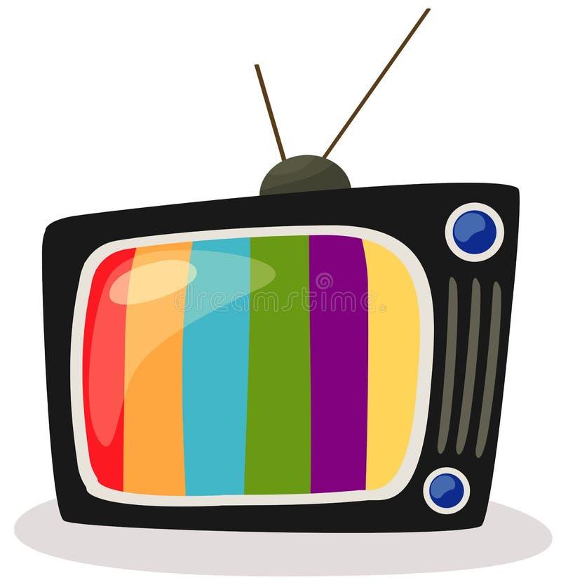 retro colour ekran tv royalty ilustracja