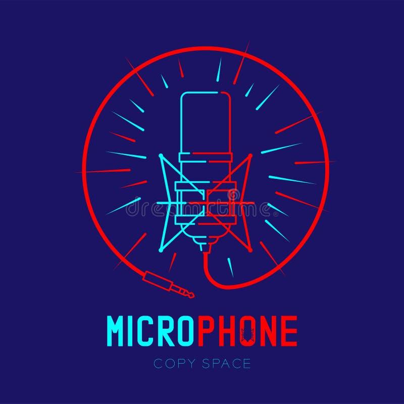 Retro colpo del profilo dell'icona di logo del microfono con il raggio nel telaio del cerchio dalla linea illustrazione del un po illustrazione vettoriale