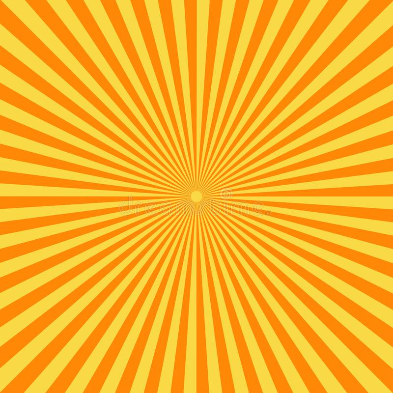 Retro comic book background. Vintage yellow sun rays. Pop art style vector illustration