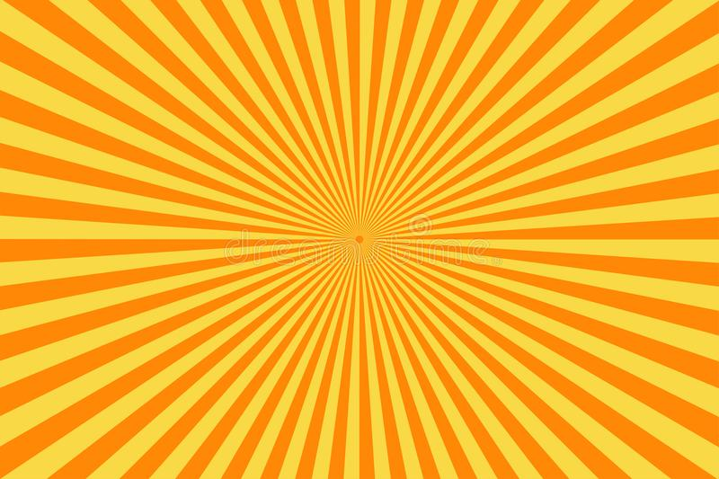 Retro comic book background. Vintage yellow sun rays. Pop art style stock illustration