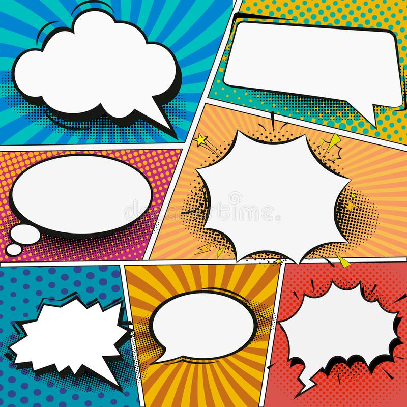 Retro comic empty speech bubbles set on colorful background. Vector illustration, vintage design, pop art style stock illustration