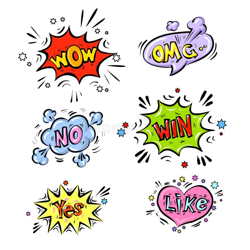 Retro comic speech bubbles set with colorful shadows on white background. Expression text No, OMG, WOW, YEs, WIN, LIKE stock illustration