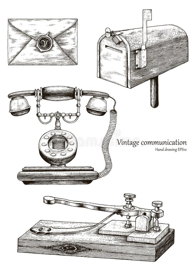 Retro communication equipment hand drawing vintage style vector illustration