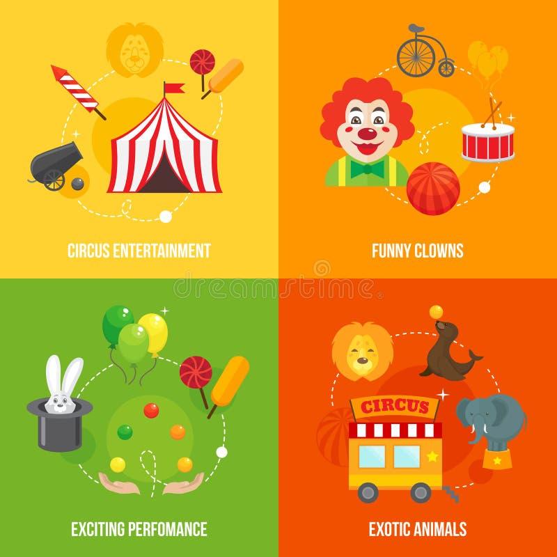 Retro composizione nelle icone del circo royalty illustrazione gratis