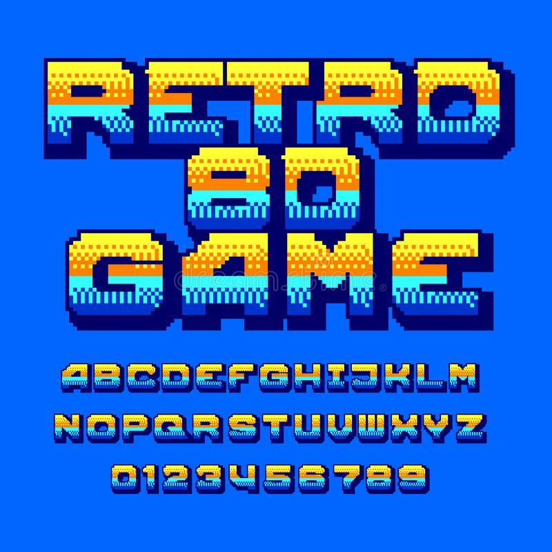 Retro 80 computer game alphabet font. Colorful pixel gradient letters and numbers. Arcade video game typography vector illustration