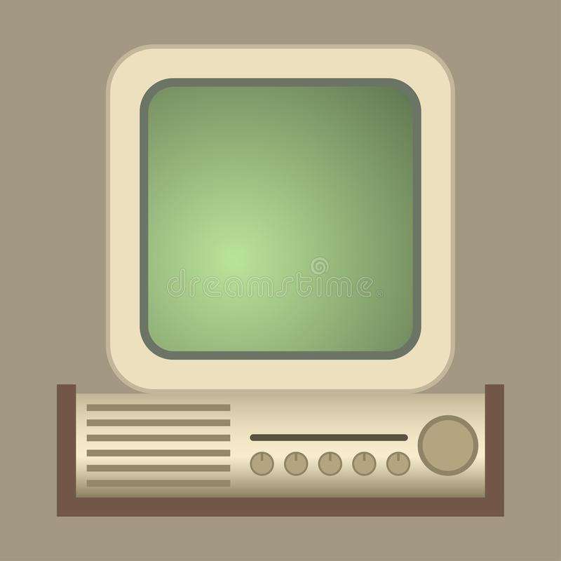 Retro computer vector old classic antique technology business personal equipment and vintage pc desktop hardware stock illustration