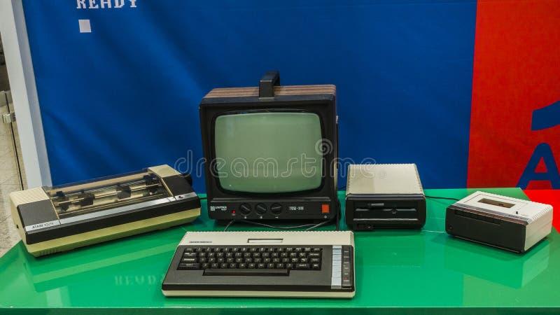 Old Computer set. Retro computers in the miuseum in Poland. Atari computers stock photos