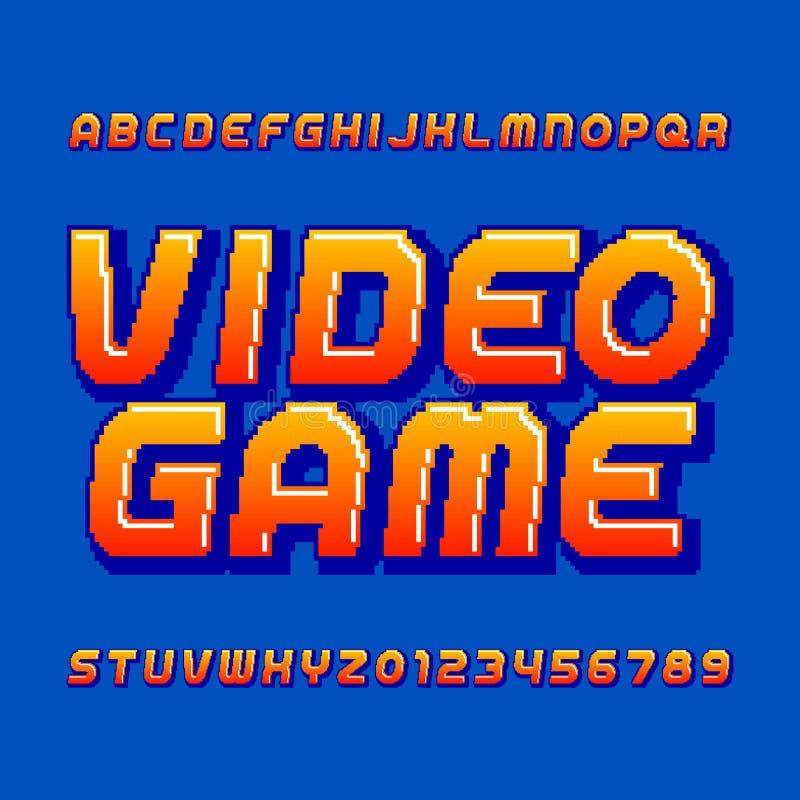 Retro- Computerspiel-Alphabetguß Schiefe Buchstaben und Zahlen der Pixelsteigung vektor abbildung