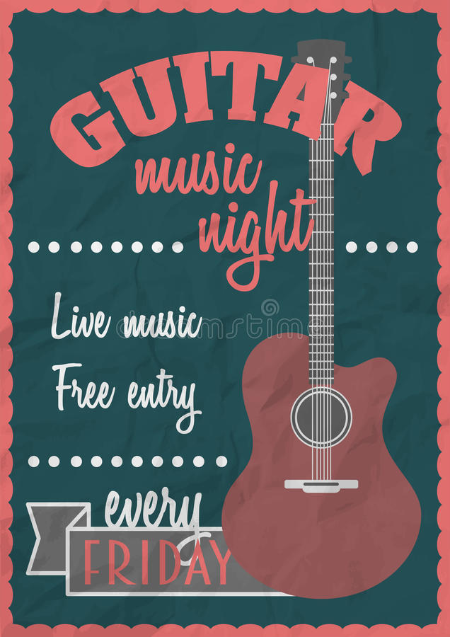 Retro concetto d'annata del manifesto di vettore con la chitarra acustica Modello di progettazione di concerto rock royalty illustrazione gratis