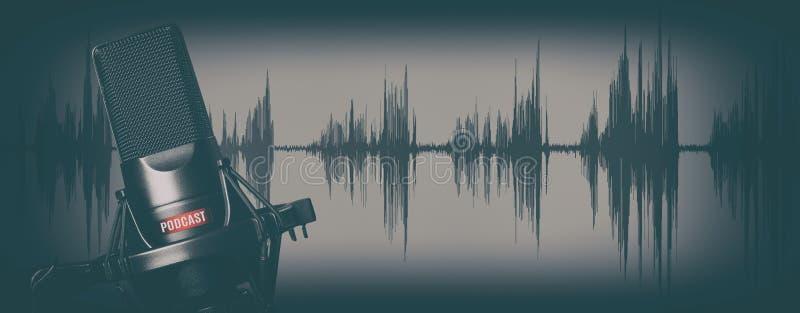 Retro concetto di podcast delle annotazioni di stile Microfono immagine stock libera da diritti