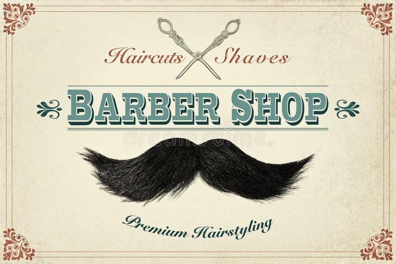 Retro concetto di progetto disegnato per un negozio di barbiere fotografia stock libera da diritti