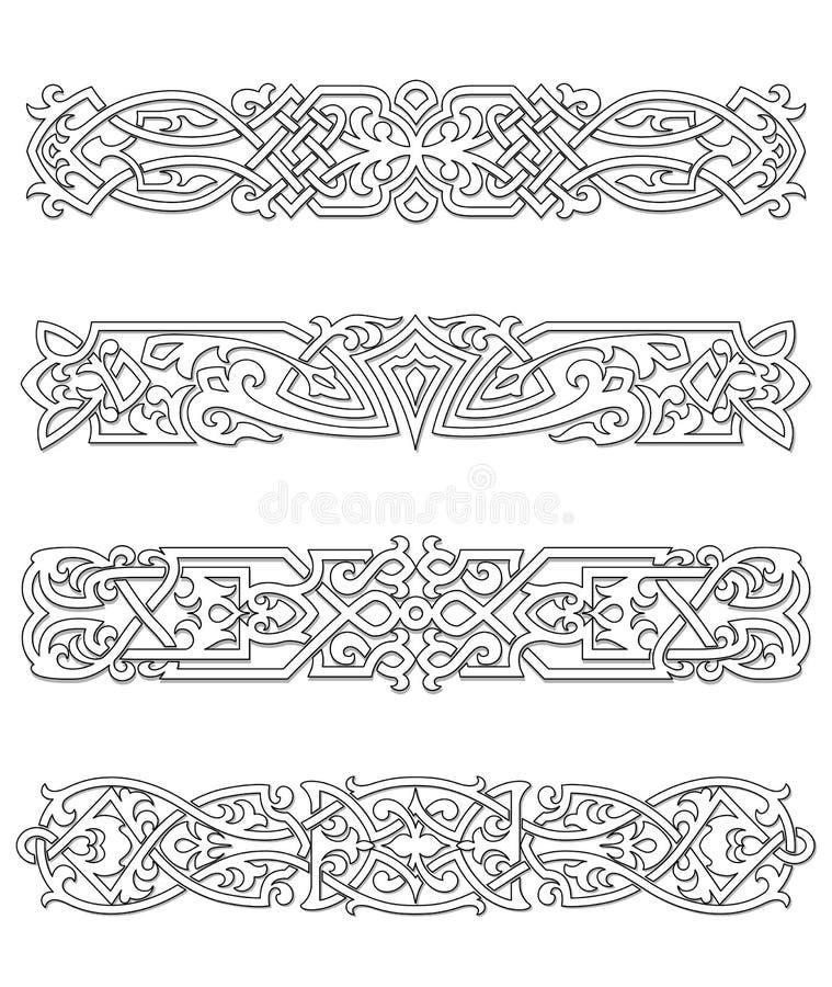Retro confini ed ornamenti royalty illustrazione gratis