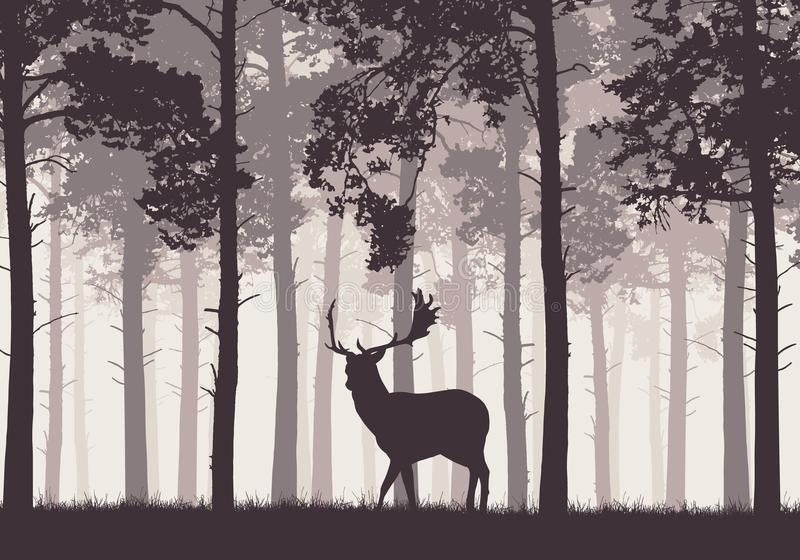 A retro coniferous forest with a silhouette of a deer vector illustration