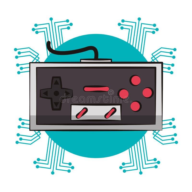 Retro console gamepad techno emblem. Retro console gamepad techno circuit emblem vector illustration graphic design royalty free illustration