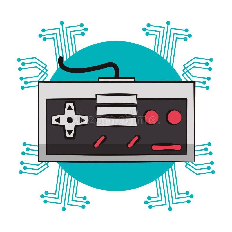 Retro console gamepad techno emblem. Retro console gamepad techno circuit emblem vector illustration graphic design vector illustration