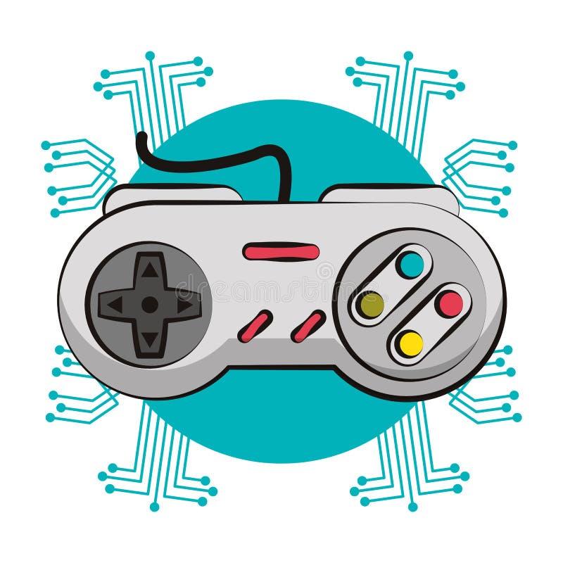 Retro console gamepad techno emblem. Retro console gamepad techno circuit emblem vector illustration graphic design stock illustration