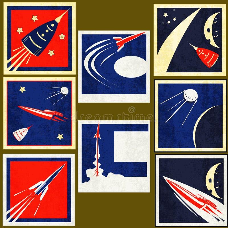 Retro contrassegni dell'annata dei razzi di spazio illustrazione vettoriale