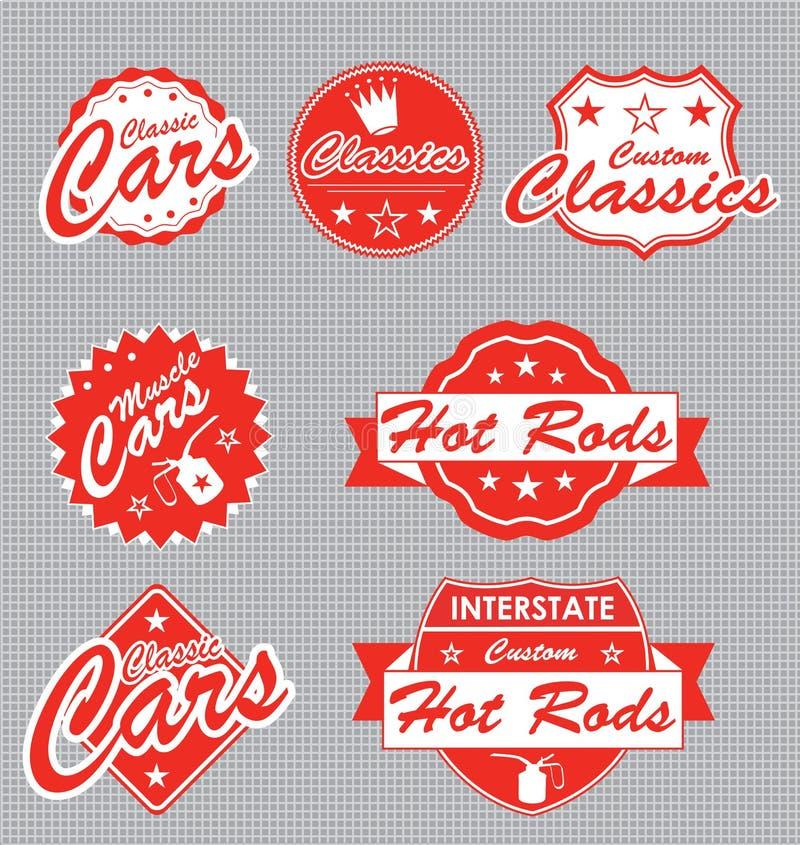 Retro contrassegni ed autoadesivi delle automobili illustrazione di stock