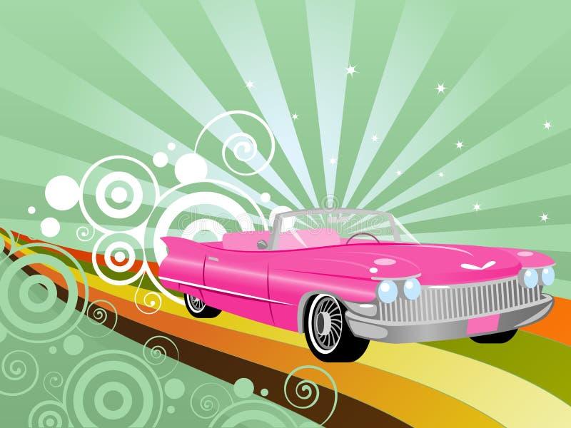 Retro Convertible. Pink retro convertible on a rainbow road royalty free illustration