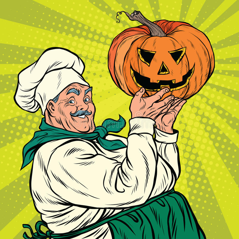 Retro cook with pumpkin Halloween. Pop art vector illustration vector illustration