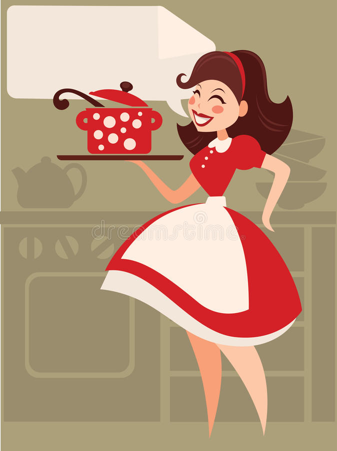 Retro cooking. Home made cooking in retro style vector illustration