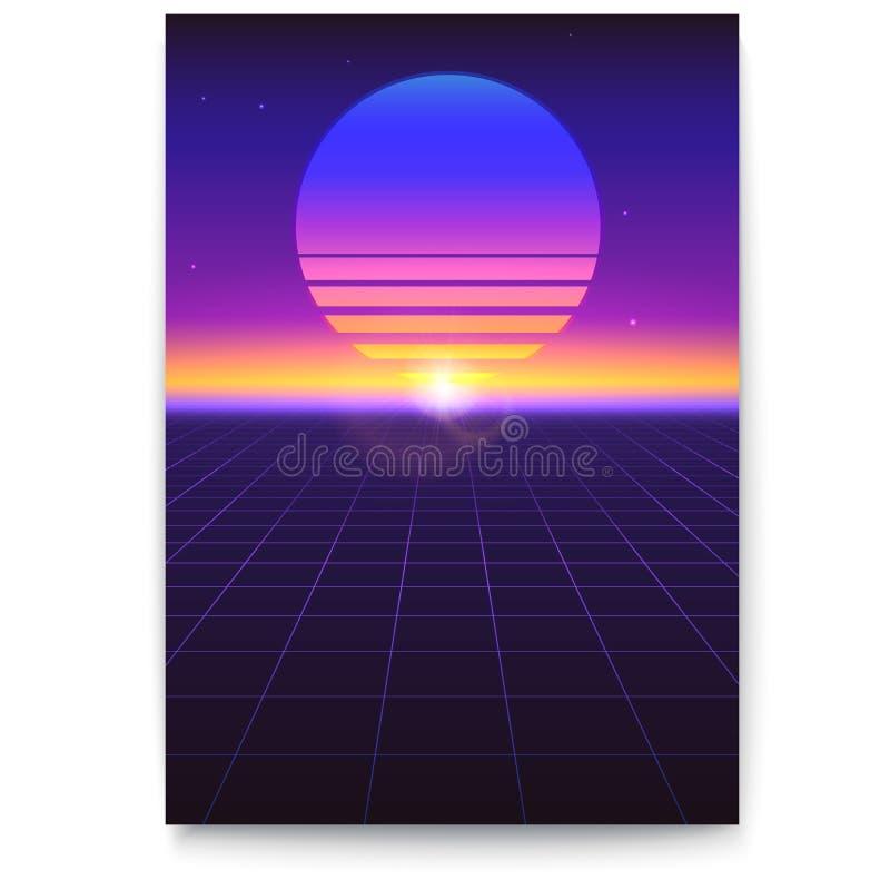 Retro coperture futuristiche Paesaggio digitale astratto in uno stile cyber del mondo nel 1980 s Fondo di Sci Fi per l'insegna illustrazione vettoriale