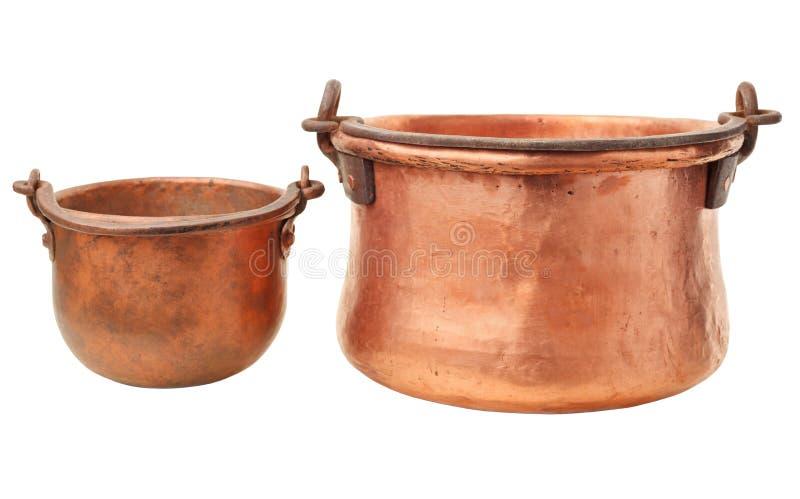 Retro copper pot stock photography