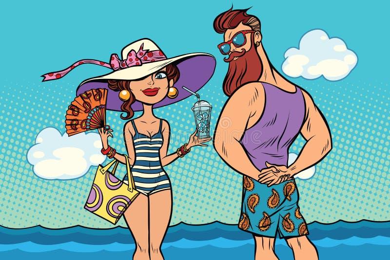 Retro coppie al mare, pantaloni a vita bassa barbuti della giovane donna royalty illustrazione gratis