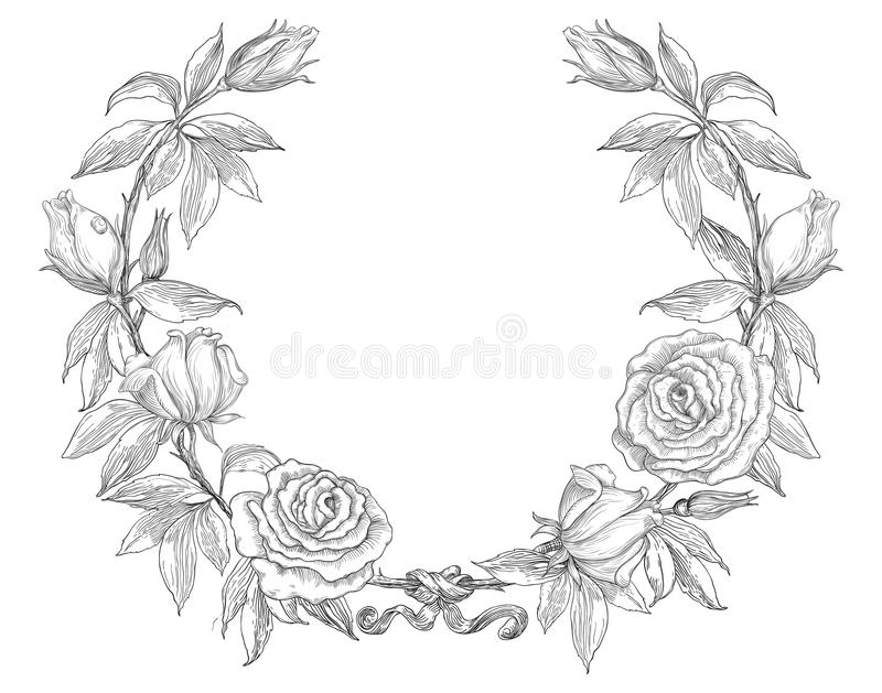 Retro corona delle rose illustrazione di stock