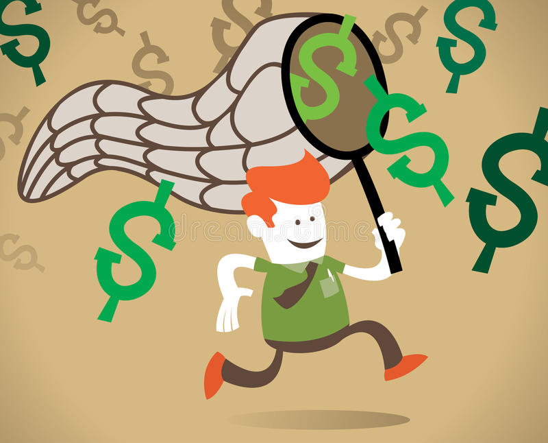 Download Retro Corporate Guy Chases The Dollar. Stock Vector - Image: 23777234