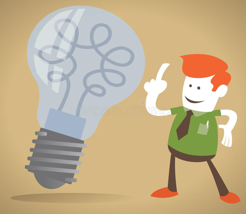 Retro Corporate Guy has a bright idea. Retro Corporate Guy with a large light bulb indicating he has a bright idea royalty free illustration