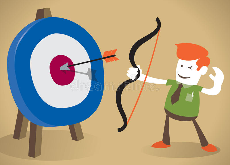 Retro Corporate Guy hitting the target with his bo vector illustration