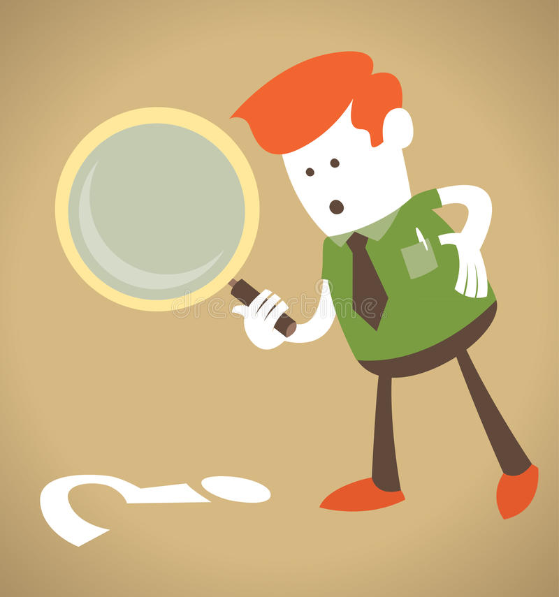 Retro Corporate Guy with magnifying glass. royalty free illustration