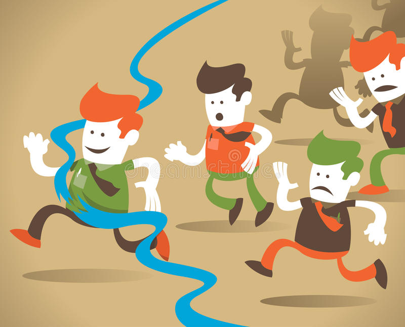 Retro Corporate Guy wins the race. royalty free illustration
