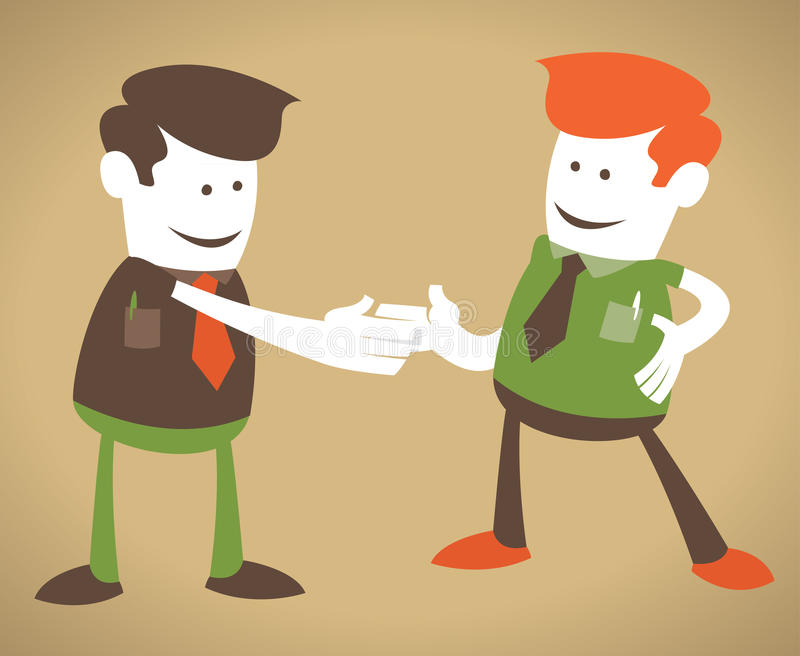 Retro Corporate Guys enjoy a handshake. stock illustration