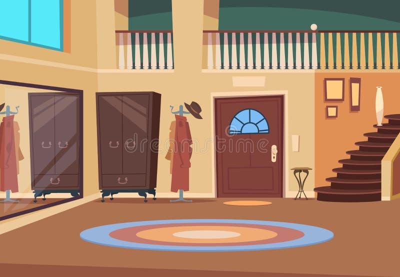 Retro corridoio Interno del corridoio del fumetto con le scale e la porta di entrata, il gancio di legno e la stanza della scarpa royalty illustrazione gratis
