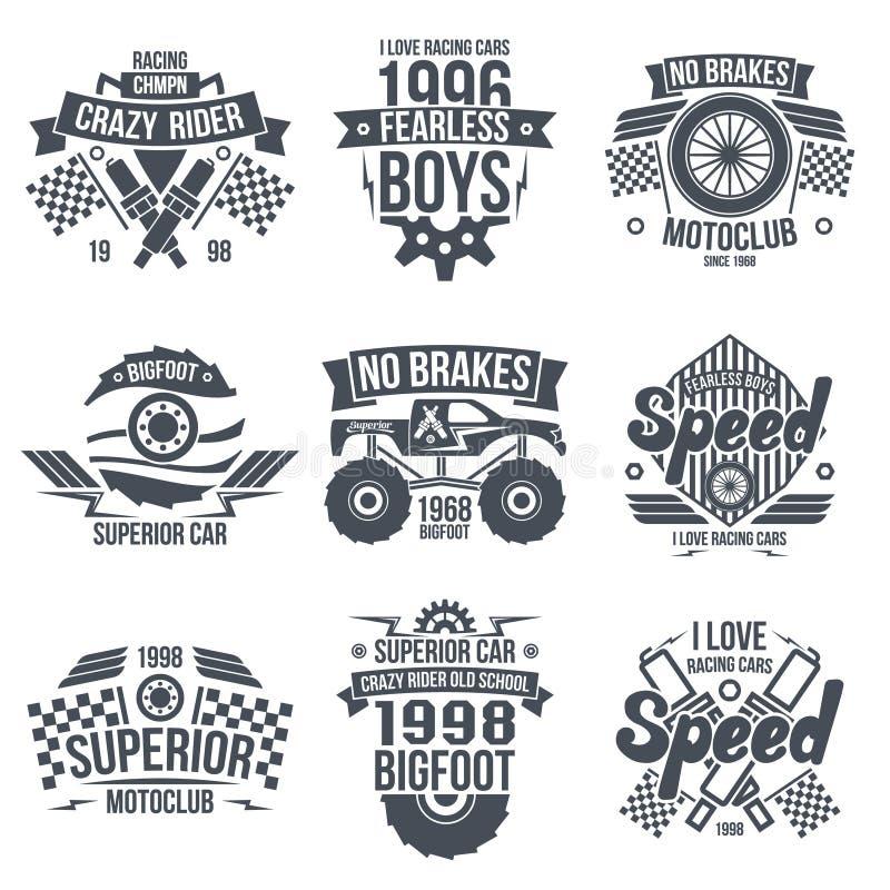 Retro corsa d'annata degli emblemi ed automobili eccellenti illustrazione vettoriale