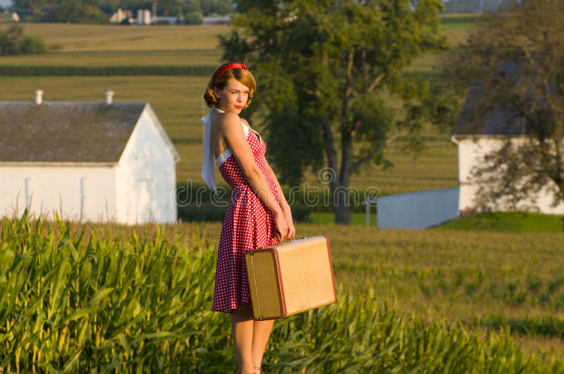 Download Retro country girl stock image. Image of summer, trip - 16375121