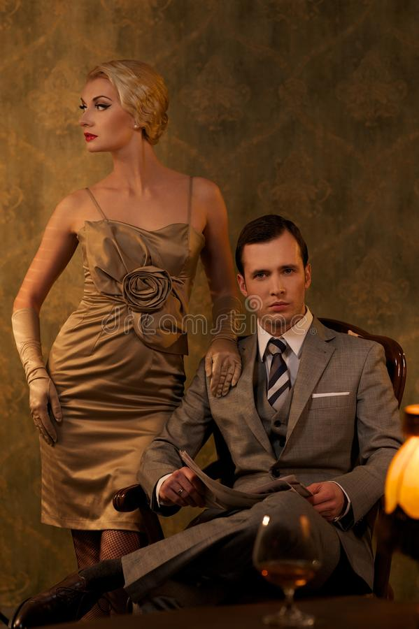 Download Retro couple stock photo. Image of newspaper, posing - 26338820