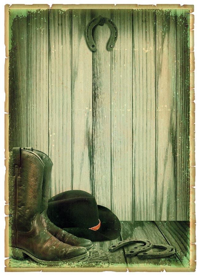 Retro Cowboy Background On Antique Paper Stock Photo